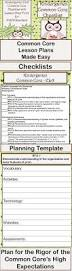 kindergarten ela common core checklist lesson planning form