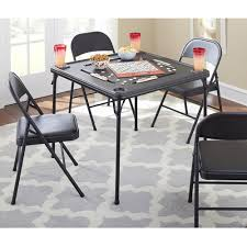cosco 5 piece card table set black mainstays folding game table black walmart com