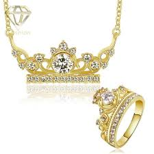 necklace charm ring images Fashion gol rose gold color charm king crown shaped inlaid stones jpg