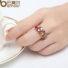 finger ring designs for bamoer unique design 18k gold plated mona ring for