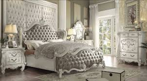 brilliant white king bedroom set acme 21147ek versailles 4pcs gray