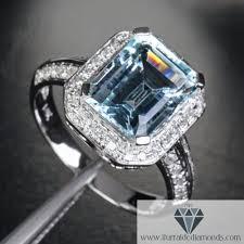 aquamarine wedding rings diamond pave halo emerald cut aquamarine engagement ring