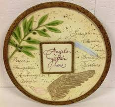 angels gather here wall plaque home garden hanging wall decor