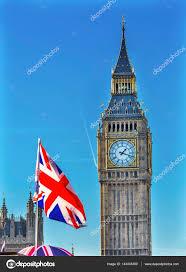 London Flag Photos Big Ben Tower British Flag Parliament Westminster London England