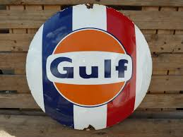 gulf racing gulf racing porcelain sign 20
