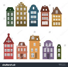 amsterdam style houses laser cut silhouette stock vector 649983682
