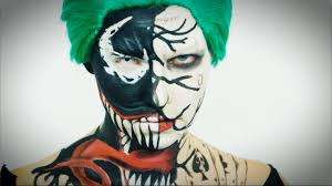 squad joker halloween makeup tutorial with venom face take