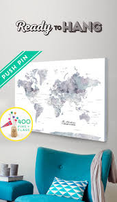 World Map Poster With Pins by Personalized Push Pin World Map Canvas Purple Marble