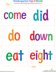 kindergarten sight words come to eight worksheet education com