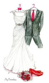 one year anniversary gift for your wife her wedding dress sketched