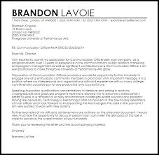 communication officer cover letter sample livecareer