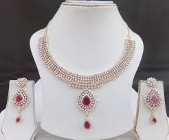 ruby necklace earrings images Stunning american style ad ruby necklace earrings indian gold plated j jpg