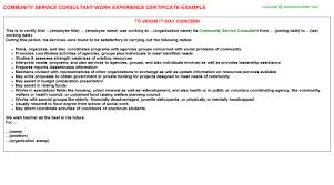 community service consultant work experience certificate