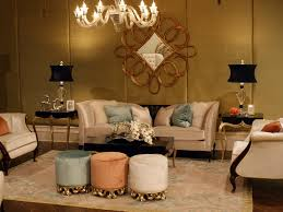 classic living room with elegant gold silk covers and large gold