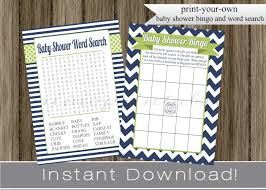baby boy shower games bingo and word search cards navy blue