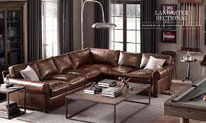 Restoration Hardware Living Rooms Our Lancaster Sectional In Our Leather Restoration Hardware