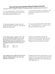 2 step equation word problems worksheets