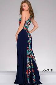 navy multi lace applique bodice with high keyhole neckline dress
