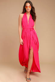 hot dress lovely hot pink dress maxi dress wrap dress 49 00