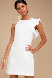 white dress white dress one shoulder dress asymmetrical dress