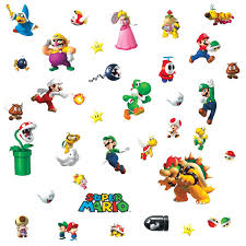 roommates 675scs nintendo new super mario wii peel and stick wall you ve played the game now bring it to your walls these wall decals feature mario luigi toad yoshi and more of your favorite characters and items from