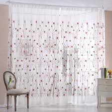 decorative pink floral pattern in pink color sheer white curtains