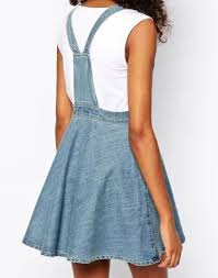 womens retro washed blue denim casual overall jumper dress skater