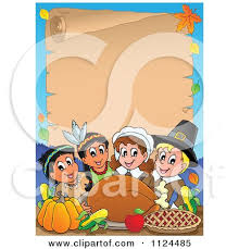 Happy Thanksgiving Pilgrims Cartoon Of Happy Pilgrims And Indians Sharing A Thanksgiving Feast