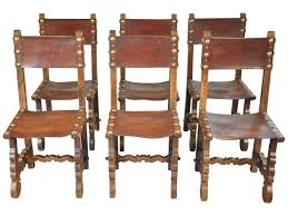Spanish Style Dining Room Furniture 19th Century Set Of 6 Spanish Leather Dining Chairs At 1stdibs