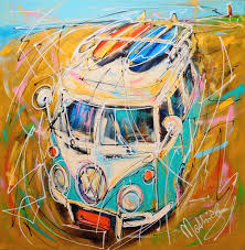 volkswagen bus art dutch holiday vw bus surfing painting by mathias schilder