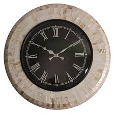 hand crafted wall clock in mother of pearl u0026 mango wood u2013 off