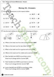 money and financial mathematics worksheets year 4 teaching