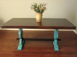 Southwest Dining Table European Paint Finishes Rustic Turquoise Trestle Table
