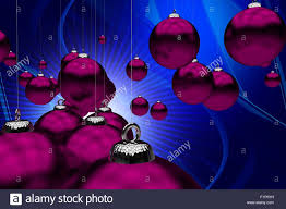 holiday theme purple christmas ornaments on cool abstract blue