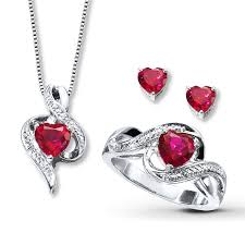 kay jewelers charmed memories kay lab created ruby three piece boxed set sterling silver