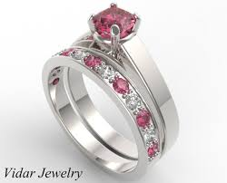 pink wedding rings images Unique alternating pink sapphire diamond wedding ring vidar jpg
