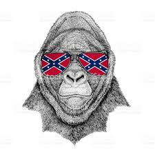 Flag Confederate States Of America Gorilla Monkey Ape Frightful Animal Wearing Glasses With National