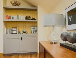 benjamin moore stonington gray for a modern home office with a