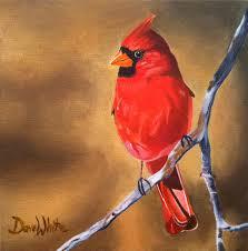 cardinal bird acrylic painting by artist dave white art