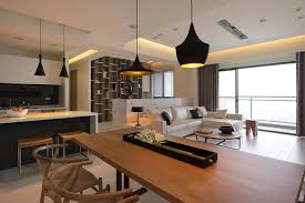 Living Room And Dining Room Combo Interesting Design Kitchen Dining Living Room With Black Pendant