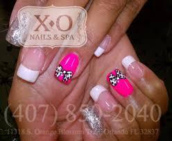 simple polka dotted bows nail design hand painted drawn nail art