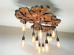 Wood Chandelier Handmade Large Live Edge Olive Wood Chandelier Rustic And