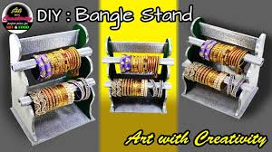 how to make a bangle stand best out of waste diy art with