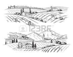 vector hand drawn village houses sketch and nature royalty free