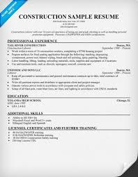 Resume Template For Construction Worker Construction Labor Resume Brilliant Summary Of Qualifications For