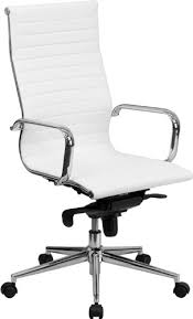 white leather desk chair amazon com flash furniture high back white ribbed leather executive