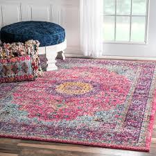 nuloom traditional persian vintage fancy pink area rug 5 u0027 x 7 u00275
