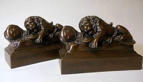 lion book ends vintage lion of lucerne lion bookends brothers bronzed