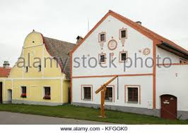 gk houses baroque houses in holasovice bohemia czech republic stock photo