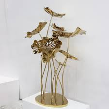 stainless steel home decor metal lotus flower sculpture for home decoration vincentaa sculpture